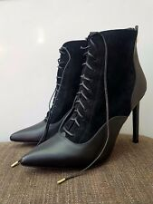 Women's Black Guess Marciano Pointed toe Lace up Ankle Heel Boots Shoes Size 40