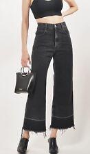 Rachel Comey High Waist Wide Leg Frayed Washed Black Legion Pant Jeans, UK 16