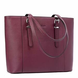 Leather Laptop Bag for Women 15.6 inch Computer Office Briefcase (4-purple)