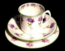 Beautiful Royal Doulton Green Trim Purple Flowers E8434 Trio