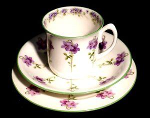Beautiful Royal Doulton Green Trim Purple Flowers E8434 Trio