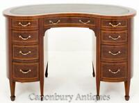 Victorian Plum Pudding Mahogany Kidney Desk Writing Table