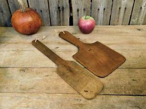 2 Antique Primitive Old Wooden Apple Butter Paddles AAFA