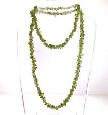 Natural Green Peridot Gemstone Chip Necklace Strand 7mm 27""