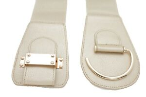 Women Wide Metallic Beige Fabric Belt Gold Metal Hook Buckle Plus Size L XL XXL
