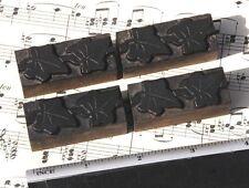 4x Ivy Wood Letterpress Ornaments Wooden Printing Blocks Type Frame Rare Fleuron