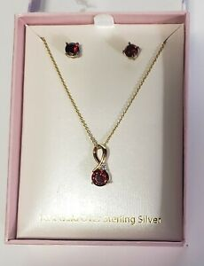 """18K Over Sterling Silver Red Gemstone 18"""" Necklace and Stud Post Earring Set"""