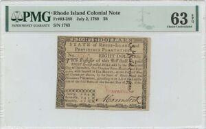 1780 July 2 $8 Rhode Island Colonial Note RI-288 PMG CU63 EPQ Issued
