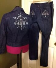 Chico's Platinum Women's Sz 1 Blue Denim Cotton Pantsuit Blazer Jean Jacket Pant