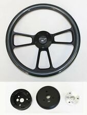 "65-69 Mustang Steering Wheel Carbon Fiber on Black Shallow Dish 14"" Pony Center"