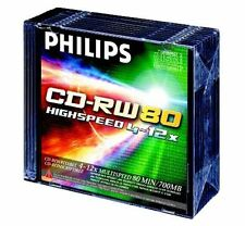 10x PHILIPS CD-RW 80 MINUTOS 4-12X MULTI VELOCIDAD BLANCO CD DISCOS CON PLÁSTICO