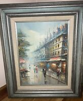 "Vintage OIL Painting on Canvas City Scape Street After Rain Blue Frame 19""x24"""