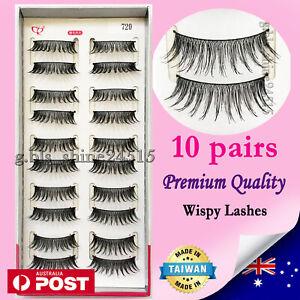 10 Pairs Natural Long Soft Black Fake False Eyelashes Sexy Makeup Party #720