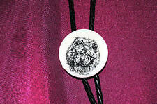 Chow Chow Dog - Etched Cultured Marble Bolo / Bola Tie