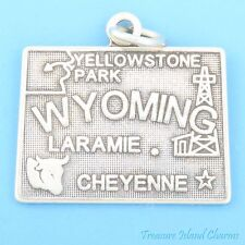 Wyoming State Map Cheyenne Laramie .925 Solid Sterling Silver Charm Pendant