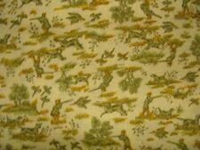 Vintage Hunt Scene Fabric Yellow Background Pheasants Concord Fabrics 2 yards +