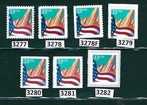 US Scott # 3277, 3278, 3278F, 3279, 3280, 3281, & 3282 / Flag Over City Set of 7