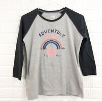The North Face womens size Small t-shirt gray raglan 3/4 sleeve logo