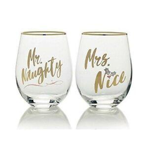 Celebrations By Mikasa Holiday • 2 Stemless Wine Glasses Mr. Naughty & Mrs. Nice