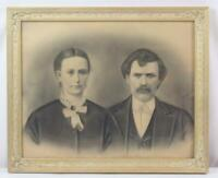 Late 19th Century Antique Charcoal Drawing of Mr & Mrs J M Marks Liberty IL