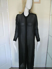 DIVIDED - Black KNEE LENGTH BUTTON FRONT SHEAR Blouse size 10- 100% POLYESTER