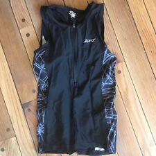 Zoot Womens Performance Triathlon Tri Tank Top Black Zipper 2 Pockets Small