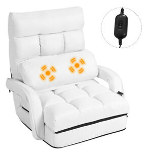 Folding Single Sofa Massage Recliner Chair 5PILLOW Adjustable Lounge Couch White