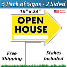 5x - Open House Arrow Shaped Signs & Stakes - Corrugated Plastic (5 Pk) Yellow