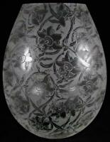 Antique Hurricane Oil Glass Lamp Shade Ornate Acid Etched Passion Flower Motif