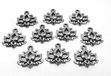 10 Pewter Lotus Flower Charms -0164
