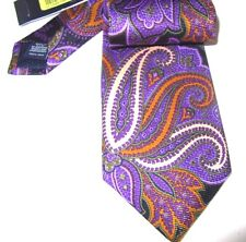 Daniel Cremieux Silk Tie Hand Made Purple Black Gold Paisley Print NWT $59