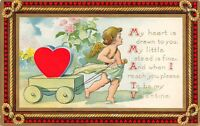 Valentine~My Heart is Drawn to You~Gossamer Cupid Pulls Cart~String Border~AMP