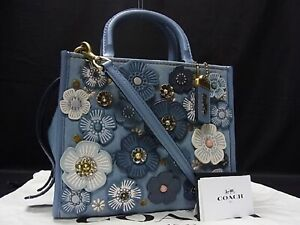 Coach 68225 Rogue 25 With Tea Rose Applique Denim Leather Blue Color from JP
