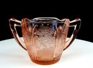 "JEANNETTE DEPRESSION GLASS CHERRY BLOSSOM PINK 3 1/8"" OPEN SUGAR BOWL 1930-39"