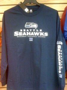 SEATTLE SEAHAWKS Long Sleeve Tee Shirt X-Large Adult Navy Blue New XL NFL