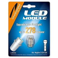 LiteXpress LED Upgrade Module 278 Lumens for 2 C-/D-Cell Maglite Torches ... NEW