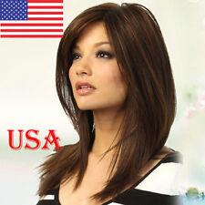 100 Real Hair Golden Brown Straight Partial Bangs Human Hair Wig USA