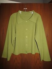 Peter Cohen $1,250 Green 100% Cashmere Collared Boxy Cardigan L