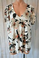 Suzanne Grae Top Size Large 12 14 White Grey Black Floral Tunic