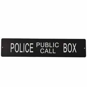 Police Public Call Box Sign Novelty Retro Metal Square Wall Plaque 17.7x3.9inch