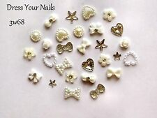 24*3d Nail Art CREAM/WHITE  Bow Flowers Hearts Pearls Stars Decoration Bling