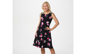Susan Graver Liquid Knit Sleeveless Dress w/ Pockets Black Floral S A352424 QVC