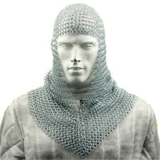 Chain Mail Coif Armor Medieval Knight Soldier Costume Stainless Steel Head Gear