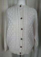 Thomas Keeling Cornish Pure New Wool Aran Cable Knit Cardigan - Large UK16