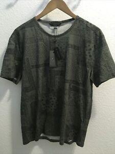 John Varvatos Collection Bandana Print T Shirt Charcoal Sz M (nwt)