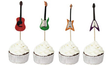 Guitar Cupcake Toppers Food Picks Music Birthday Toppers 24 Pack NEW