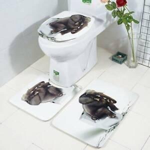 Bathroom Rug Set Shower Curtain Non Slip Toilet Lid Cover Bath Mat Pedestal BL