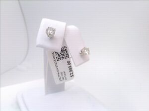 $3000 CERTIFIED 2/3CTTW CT REAL Diamond Stud Earrings 14k WHITE Gold SOLID! $1