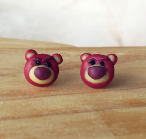 Disney Tsum Tsum Lotso Bear Polymer Clay Stud EarringsSurgical Steel