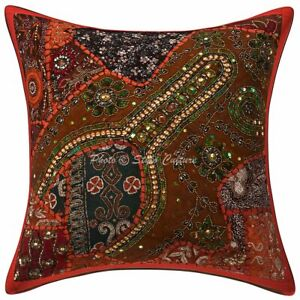Ethnic Cotton Embroidered 40x40 cm Beaded Sequins Patchwork Throw Pillow Cover